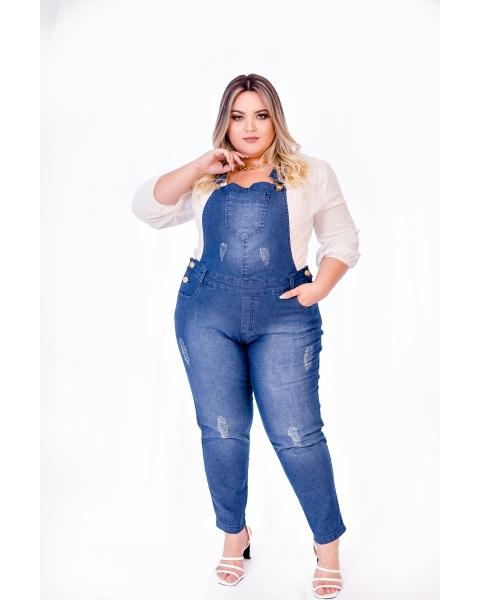 Jardineira Calça Jeans Feminina Plus Size Com Lycra Cintura Alta...