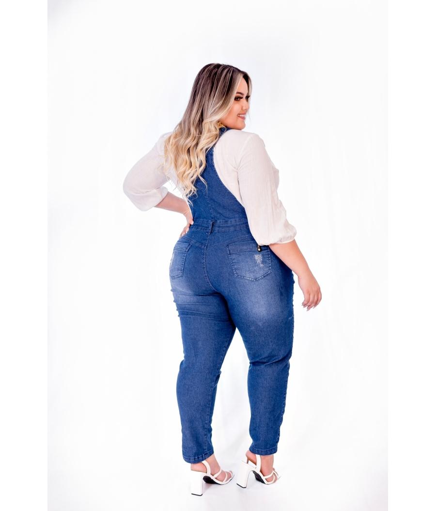 Jardineira Calça Jeans Feminina Plus Size Com Lycra Cintura Alta Escura