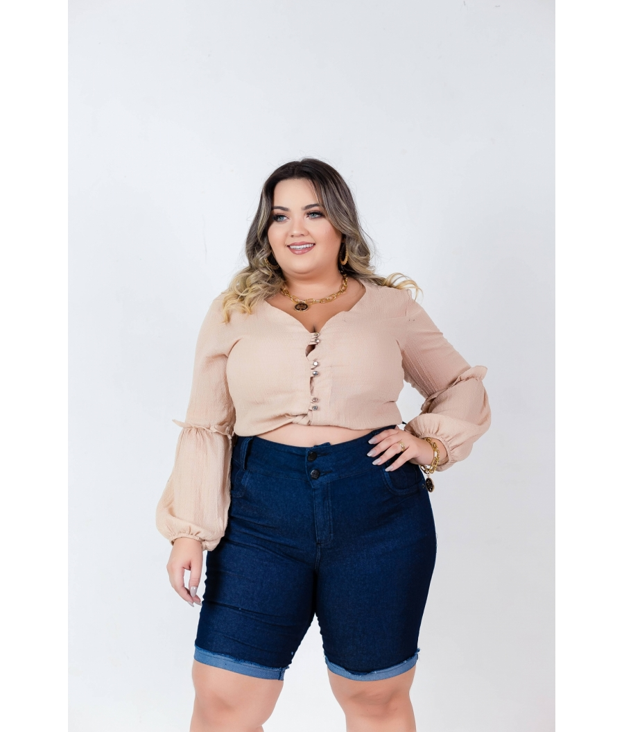 Short Jeans Feminino Plus Size Com Lycra Cintura Alta DARK