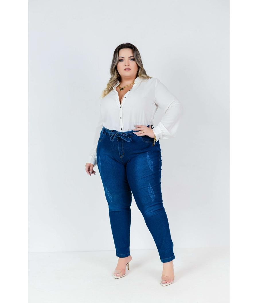 Calça Jeans Feminina Plus Size Skinny Cintura Alta Com Cinto