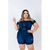 Macaquinho Jeans Plus Size Com Lycra Cintura Alta Escura