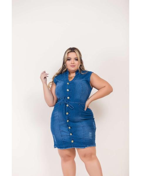 Vestido Jeans Feminino Plus Size Cintura Alta Com Cinto