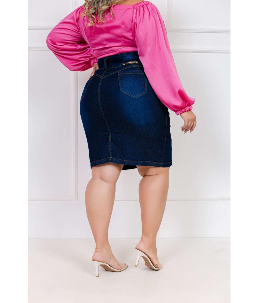Saia Jeans Feminina Plus Size Com Lycra Cintura Alta Escura