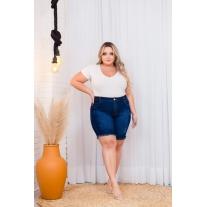 Short Jeans Feminino Plus Size Com Lycra Cintura Alta