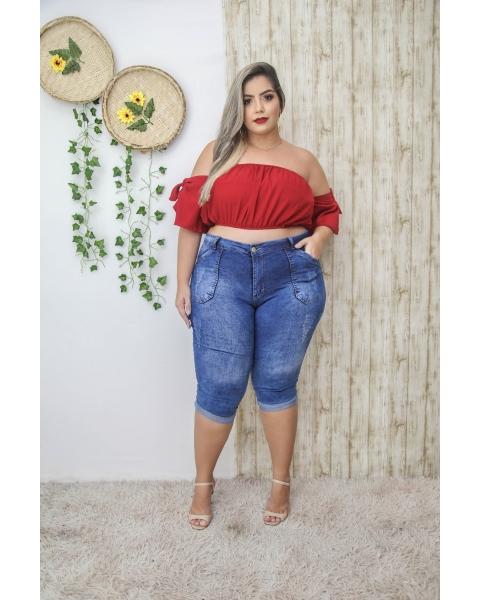 Calça Capri Jeans Feminina Plus Size Skinny Cintura Alta Com Cinto