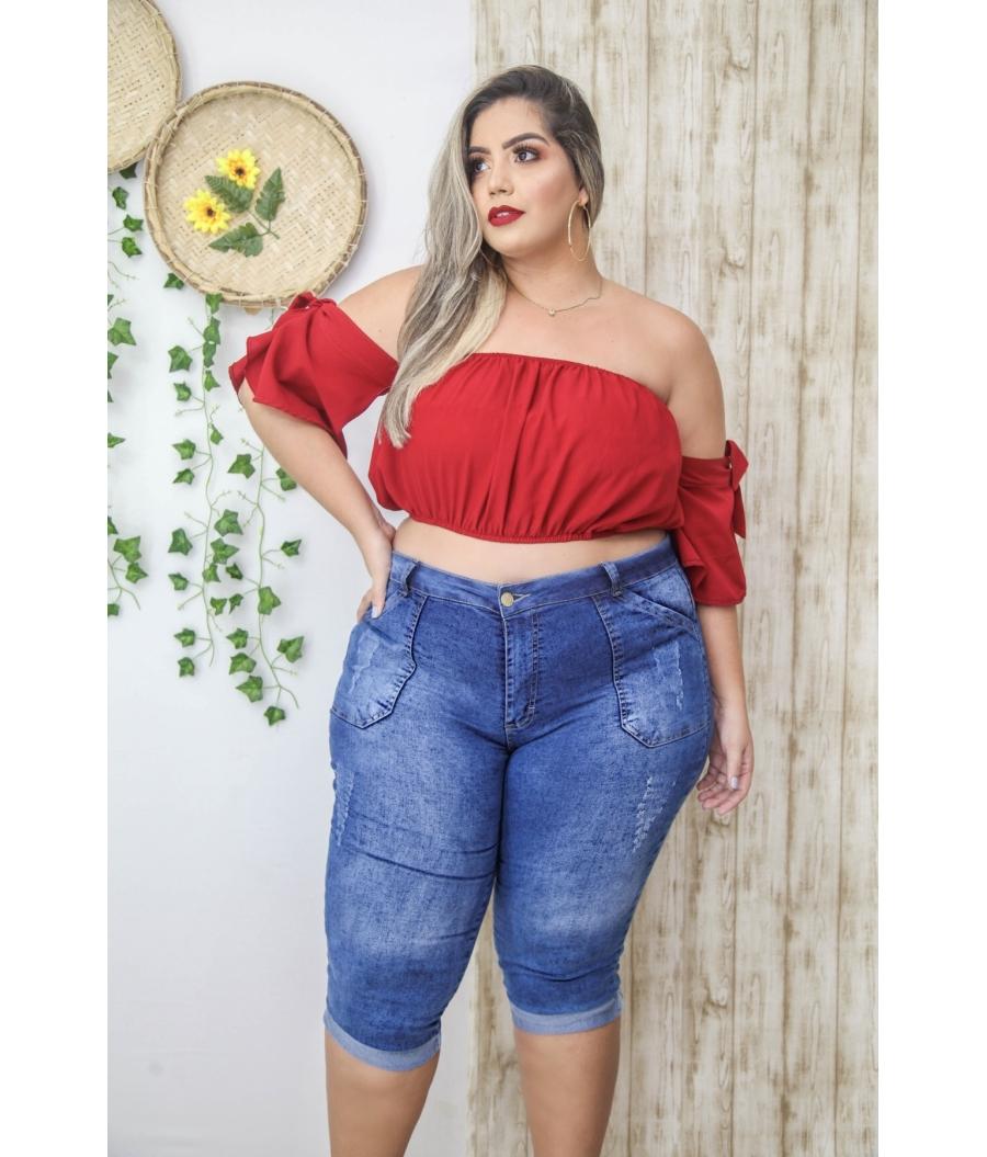 Calça Capri Jeans Feminina Plus Size Skinny Cintura Alta