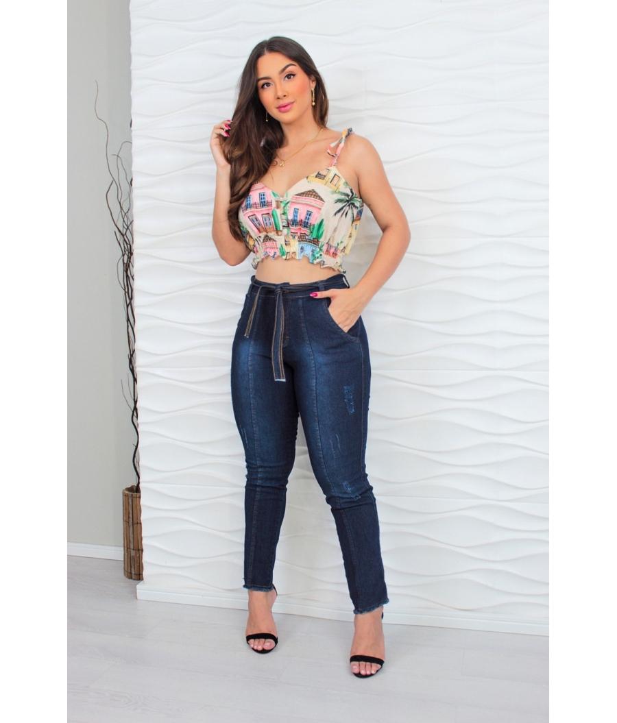 Calça Jeans Feminina Skinny Cintura Alta Dark