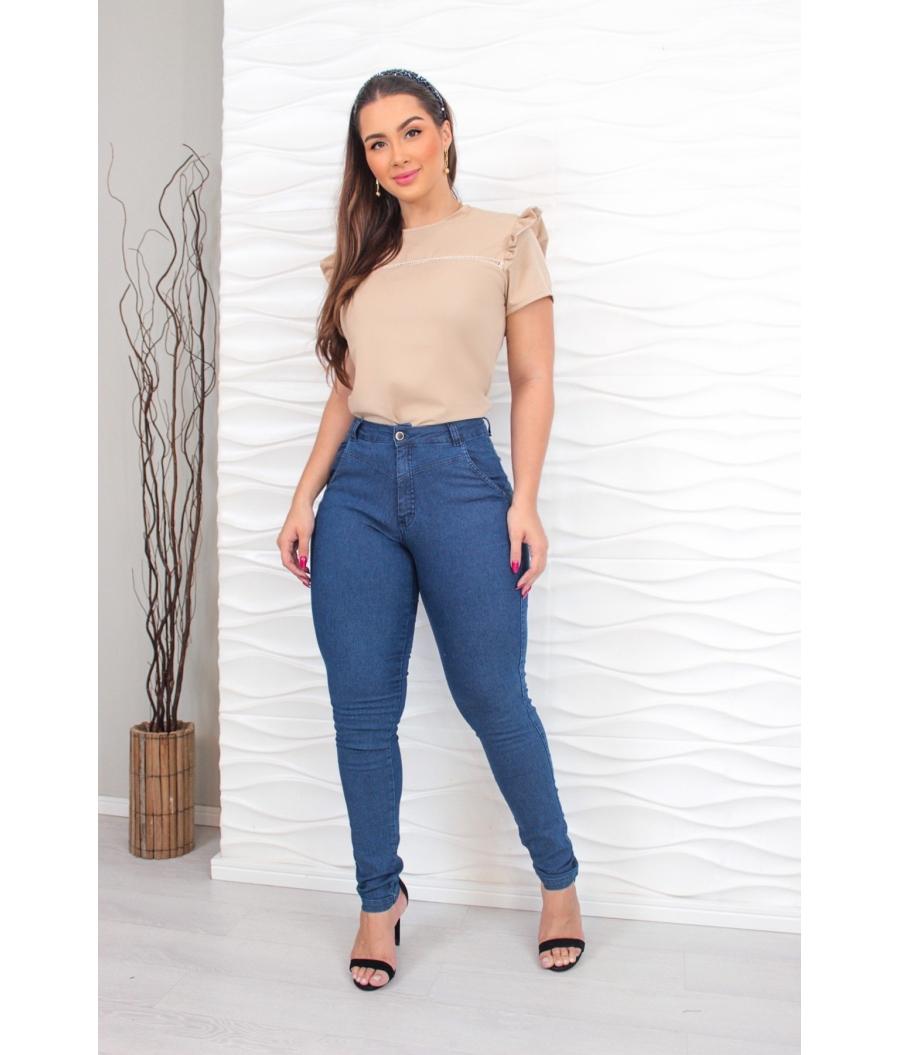 Calça Jeans Feminina Skinny Cintura Alta