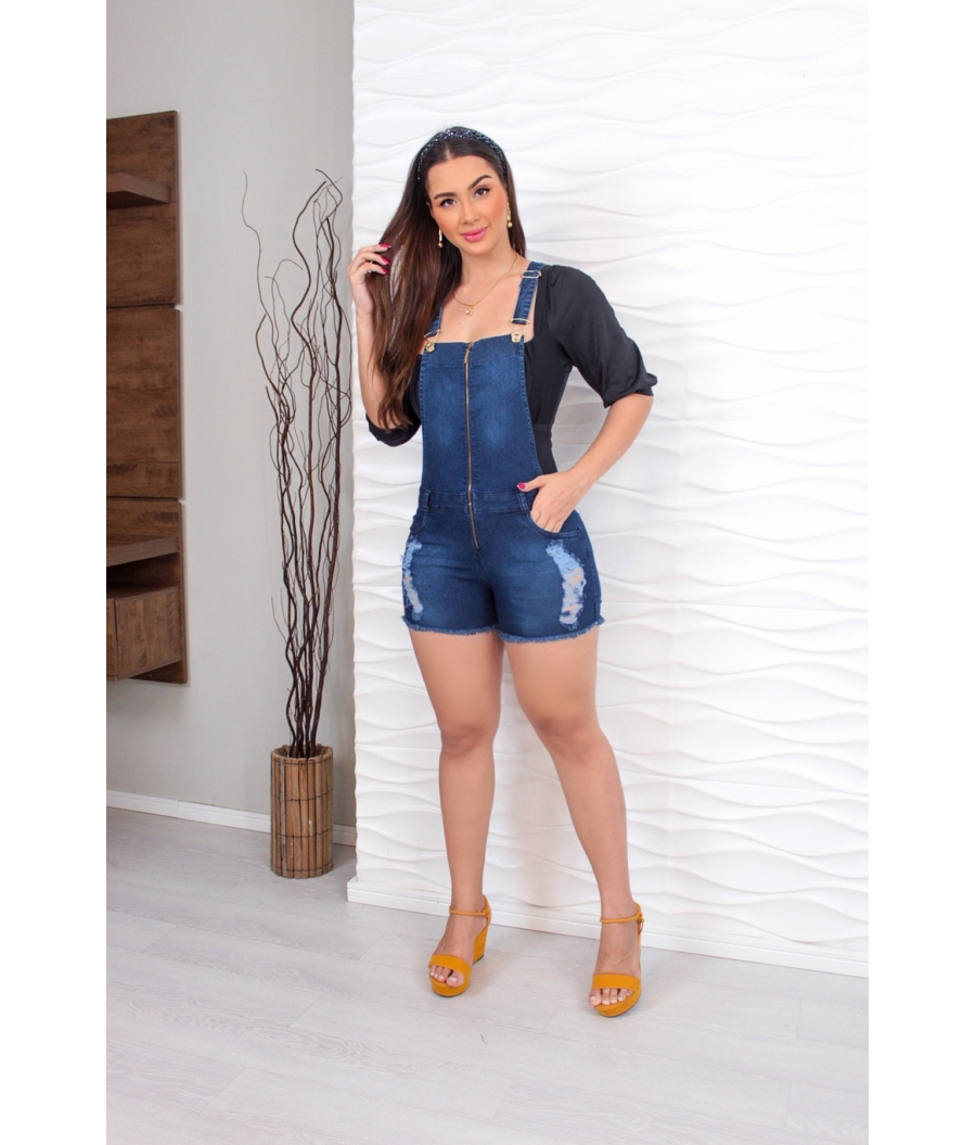 Jardineira Com Lycra Cintura Alta Clean