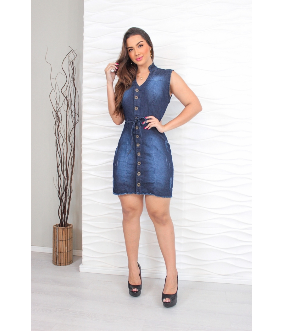 Vestido Jeans Feminino Cintura Alta Com Cinto