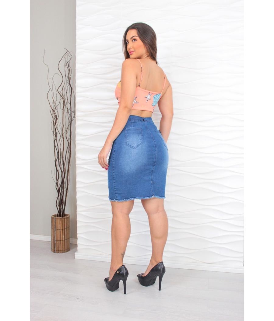 Saia Jeans Feminina Com Lycra Cintura Alta Escura