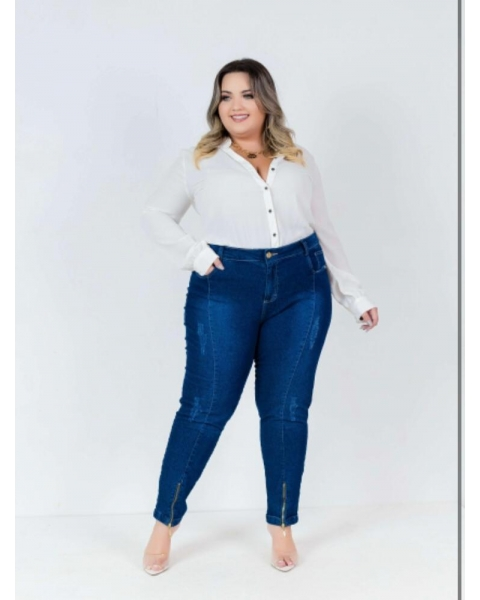 Calça Jeans Feminina Plus Size Skinny...