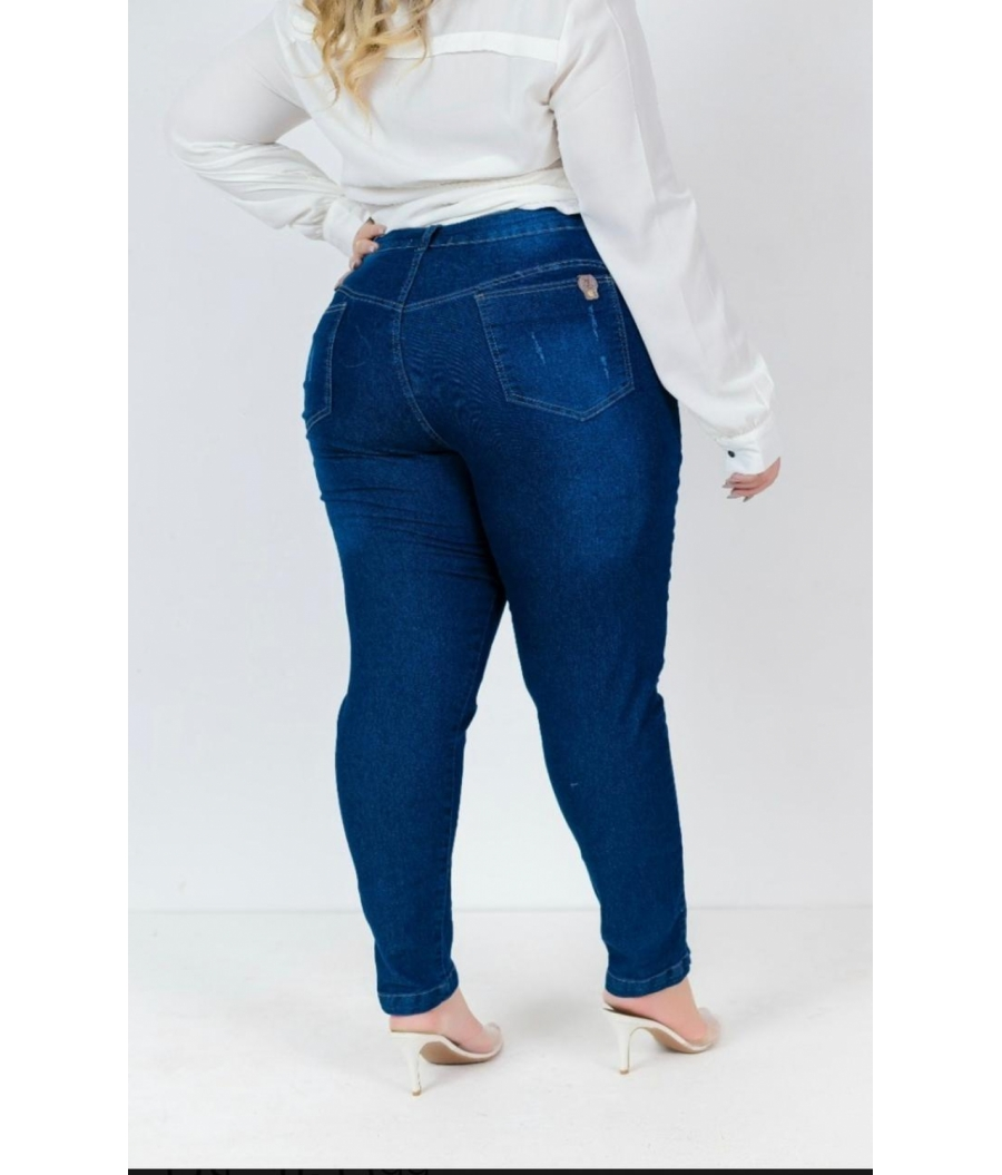 Calça Jeans Feminina Plus Size Skinny Cintura Alta Zíper