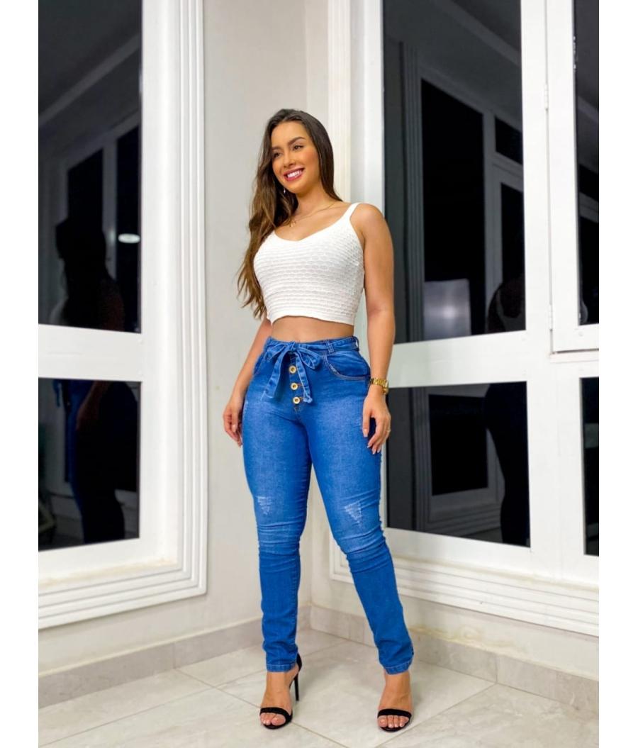 Calça Jeans Feminina Skinny Cintura Alta Botões Clean