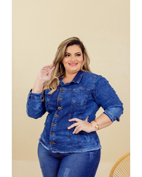 Jaqueta Jeans Plus Size Feminina Com Elastano...