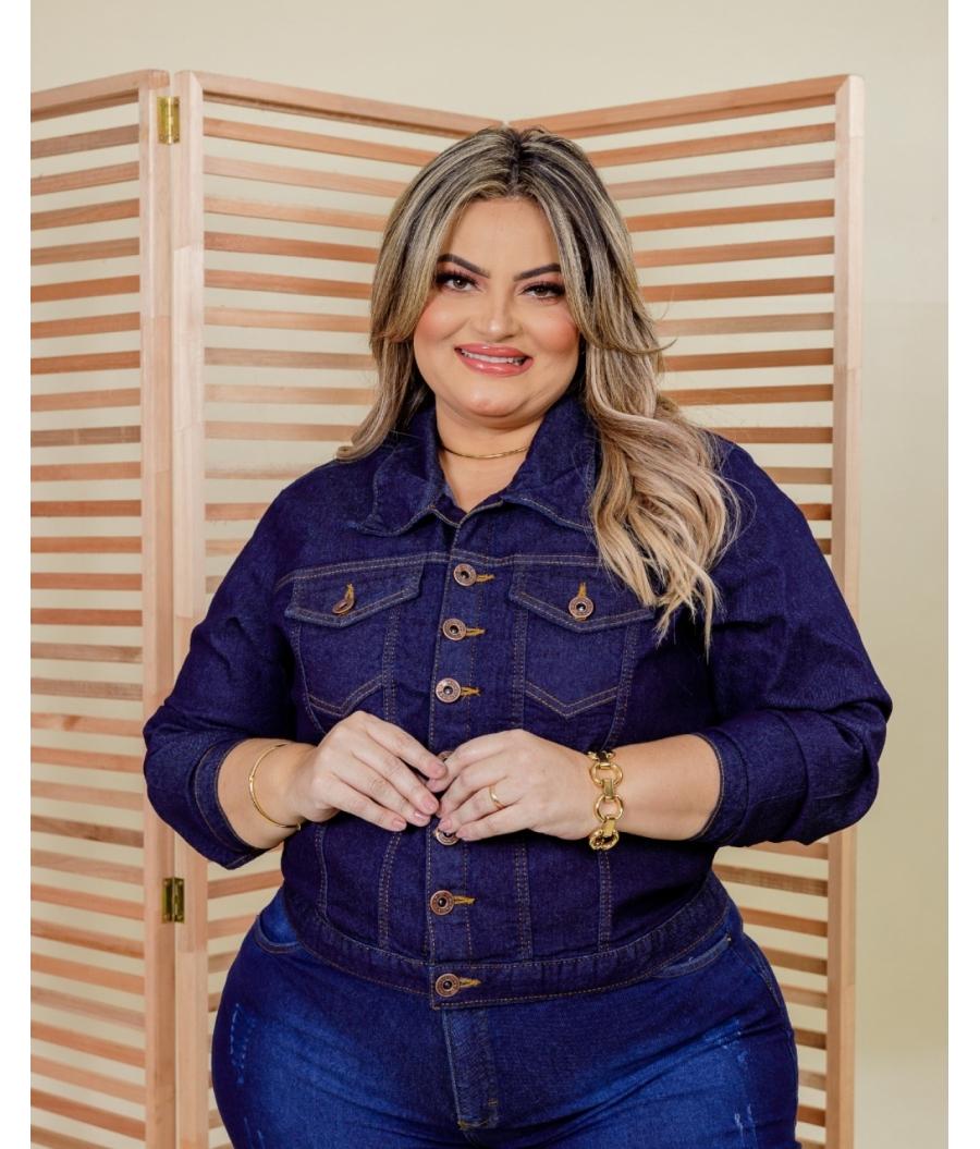 Jaqueta Jeans Plus Size Feminina Com Elastano Dark