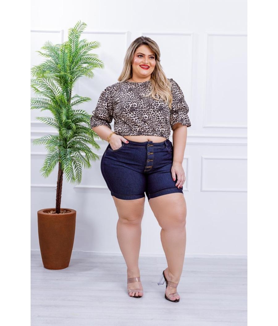 Short Jeans Feminino Plus Size Com Lycra Cintura Alta Botões