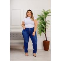Calça Jeans Feminina Plus Size Skinny Cintura Alta Com Cinto...
