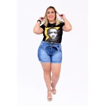 Short Jeans Feminino Plus Size Com Lycra Cintura Alta Com Cinto Claro