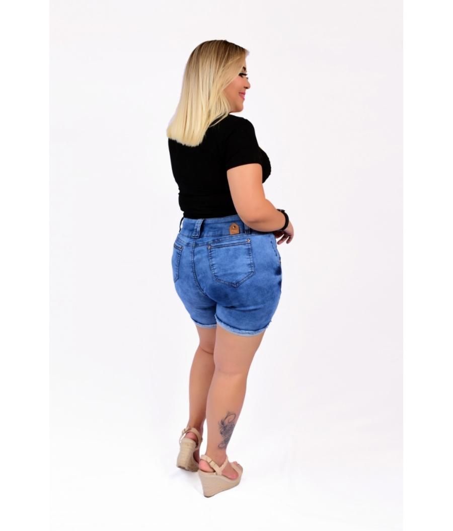 Short Jeans Feminino Plus Size Com Lycra Cintura Alta Barra Virada