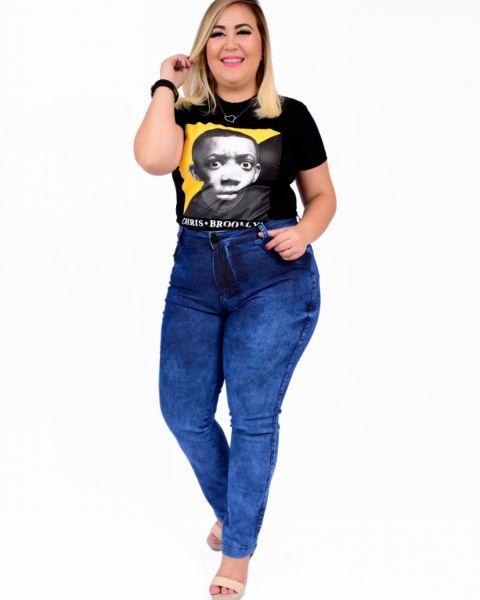 Calça Jeans Feminina Plus Size Skinny Cintura Alta Clean