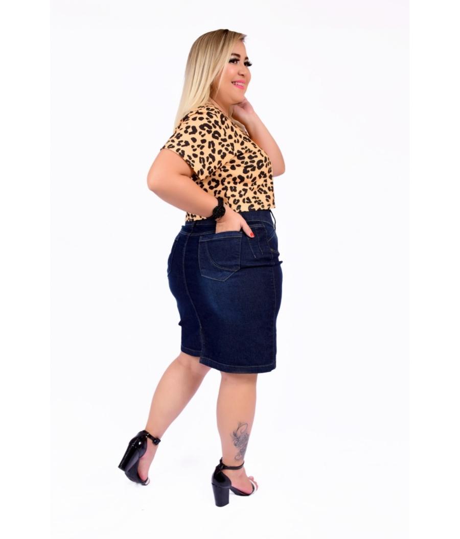 Saia Jeans Feminina Plus Size  Cintura Alta Amaciada Com Used