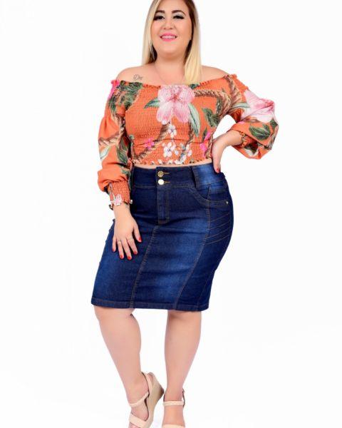 Saia Jeans Feminina Plus Size  Cintura Alta Azul Escura