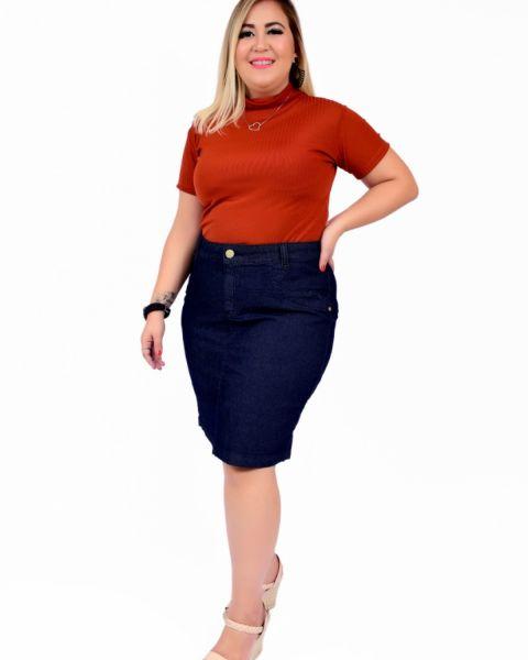 Saia Jeans Feminina Plus Size  Cintura Alta Lycra Dark