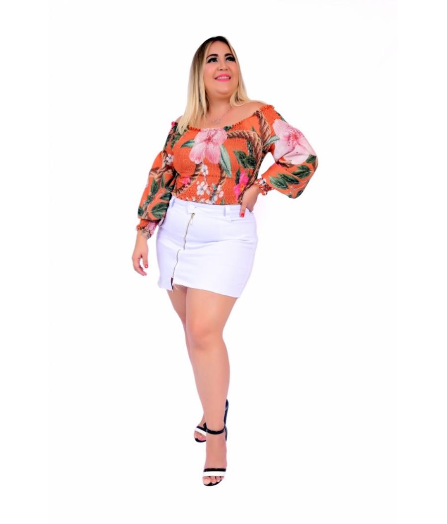 Saia Feminina Plus Size  Cintura Alta Lycra Branca