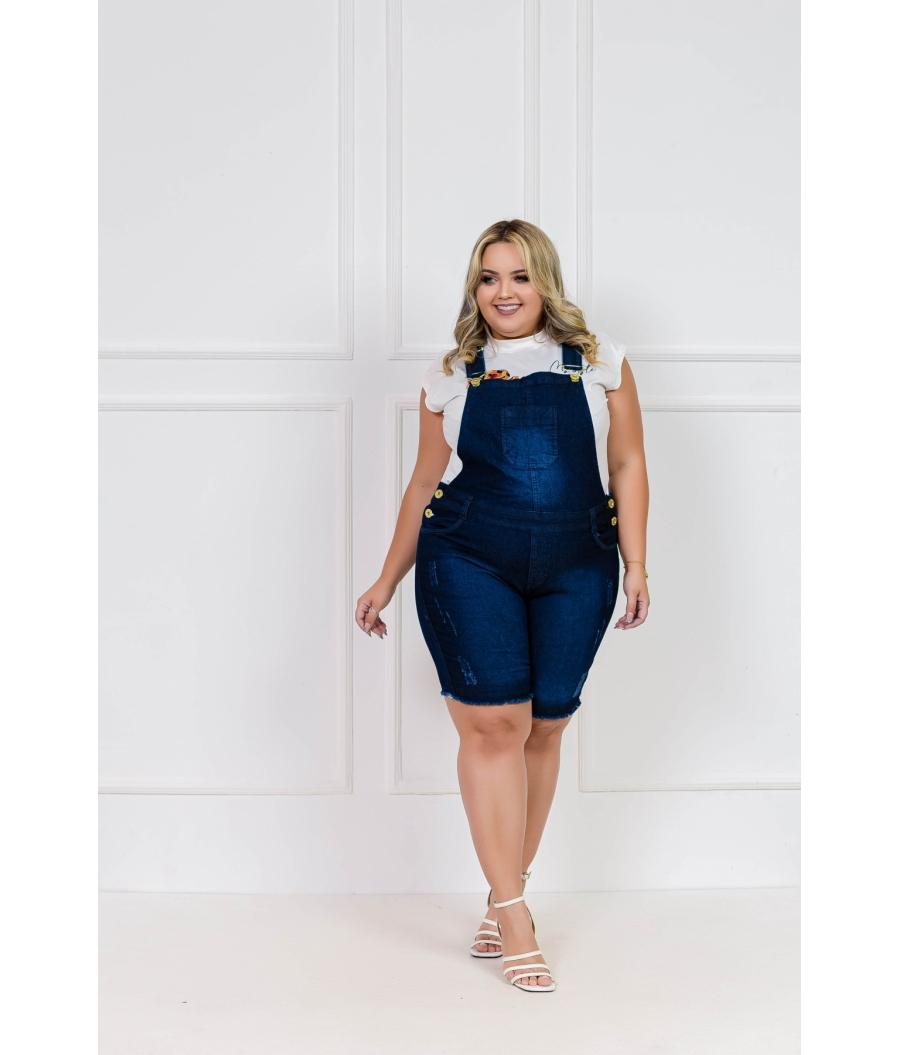 Jardineira Jeans Feminina Plus Size Com Lycra Cintura Alta Escura