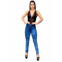 Calça Jeans Skinny  Feminina Cintura Alta Com Lycra Clara