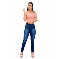 Calça Jeans Skinny  Feminina Cintura Alta Com Lycra Escura