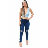 Calça Jeans Skinny Feminina Cintura Alta Com Lycra Destroyed