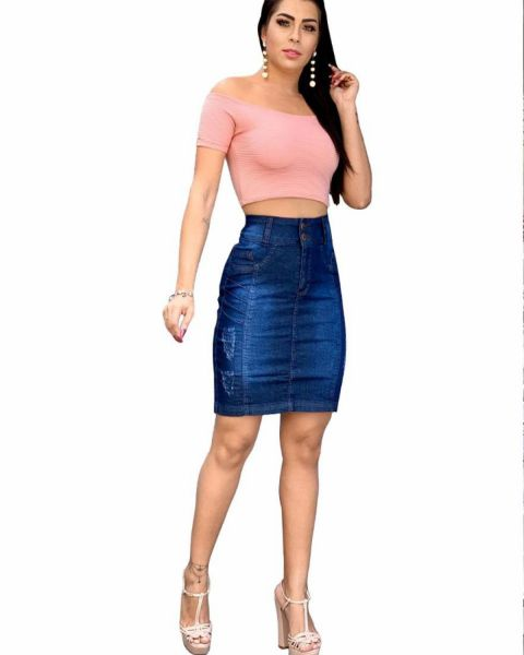 Saia Jeans Feminina Cintura Alta Lycra Azul Escura