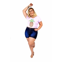 Short Jeans Feminino Plus Size Com Lycra Cintura Alta Blue
