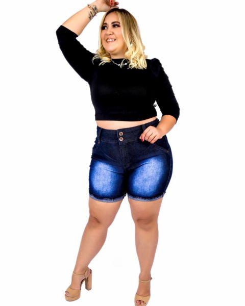 Short Jeans Feminino Plus Size Com Lycra Cintura Alta Barra virada Com Used