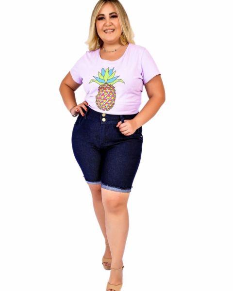 Bermuda Jeans Feminina Plus Size Com Lycra...