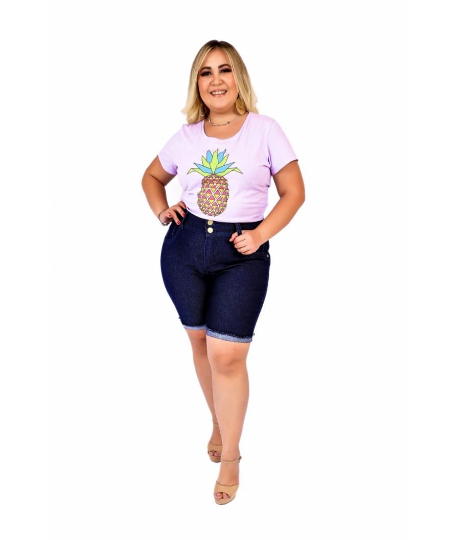 Bermuda Jeans Feminina Plus Size Com Lycra Cintura Alta Barra virada Amaciada