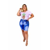 Bermuda Jeans Feminina Plus Size Com Lycra Cintura Alta Barra virada Super...
