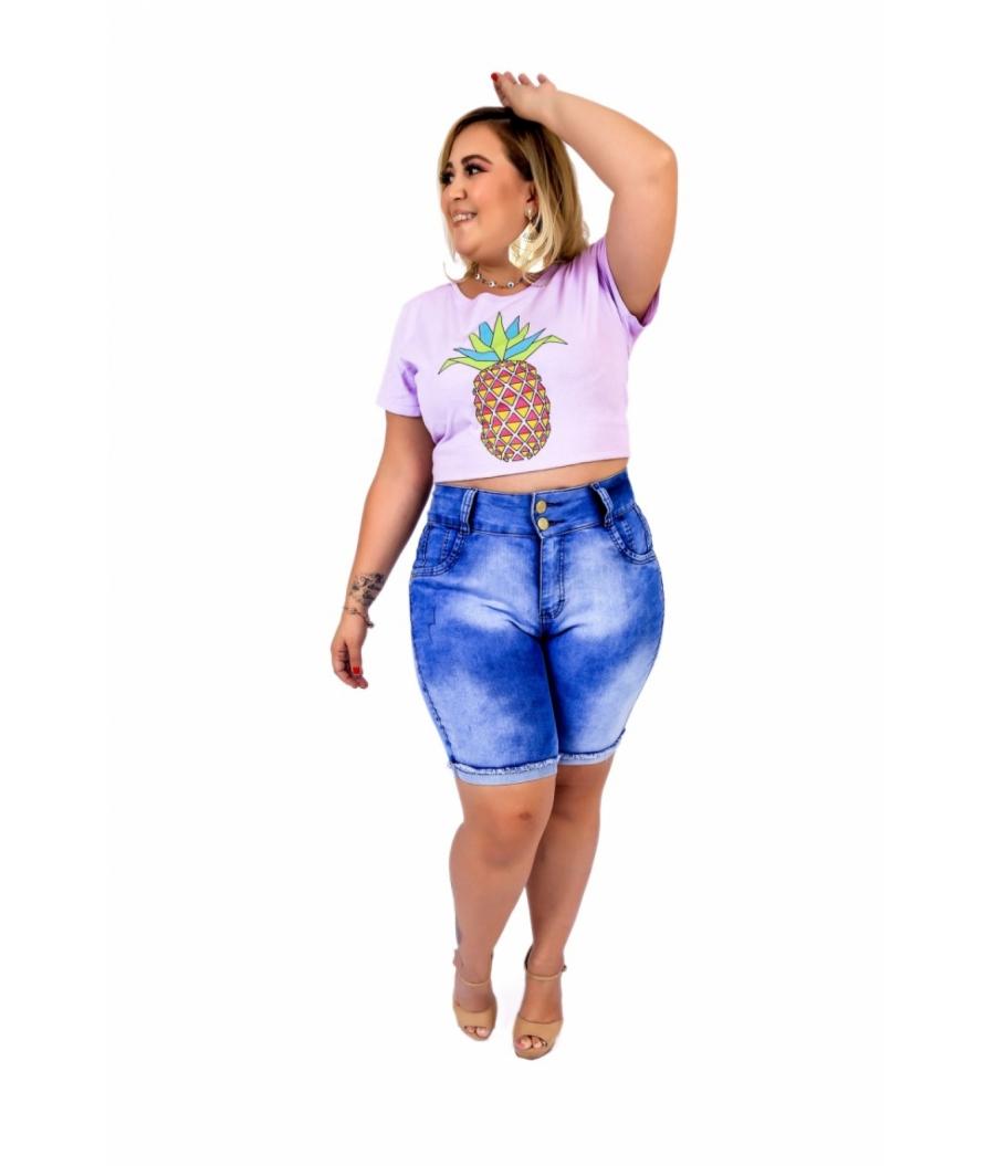 Bermuda Jeans Feminina Plus Size Com Lycra Cintura Alta Barra virada Super Stone