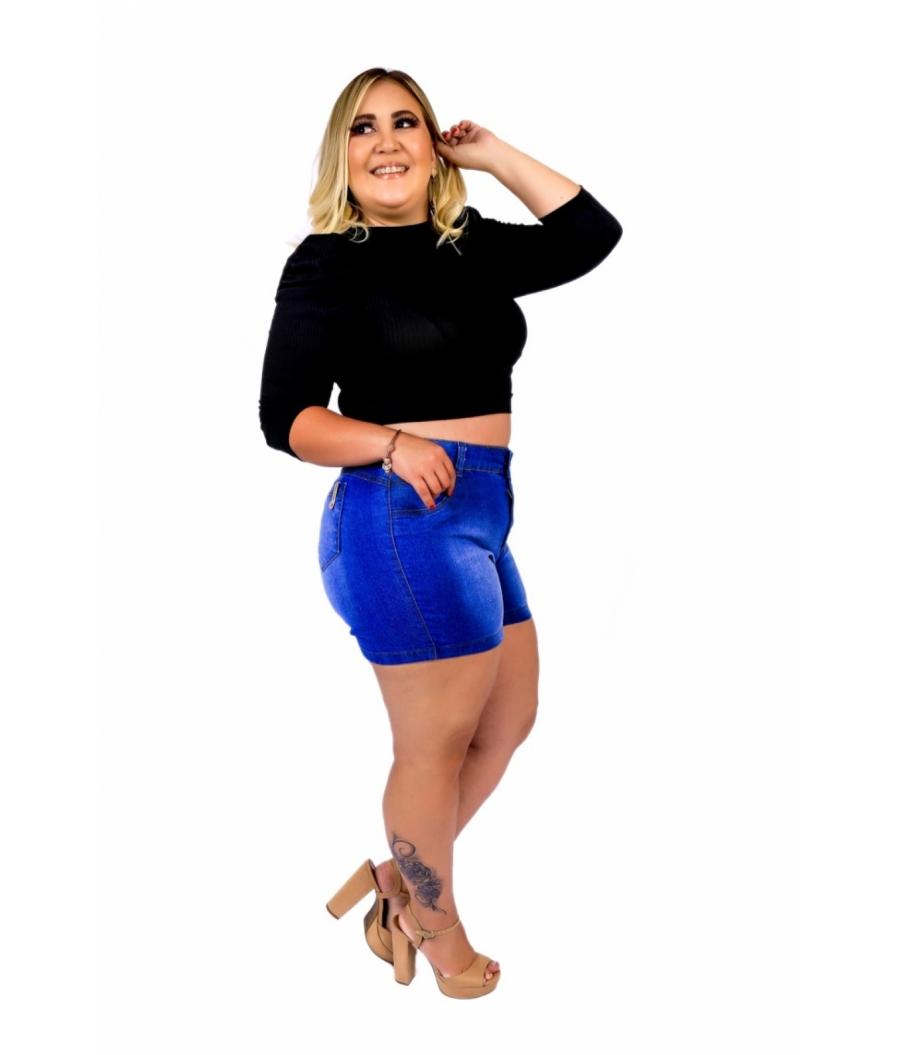 Short Jeans Feminino Plus Size Com Lycra Cintura Alta Clean