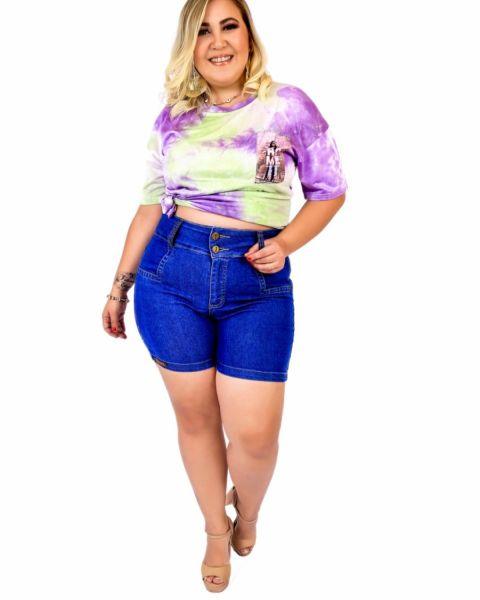 Short Jeans Feminino Plus Size Com Lycra Cintura...