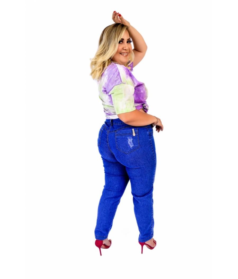 Calça Jeans Feminina Plus Size Skinny Cintura Alta Com Cinto e Fechamento por Botões Clean