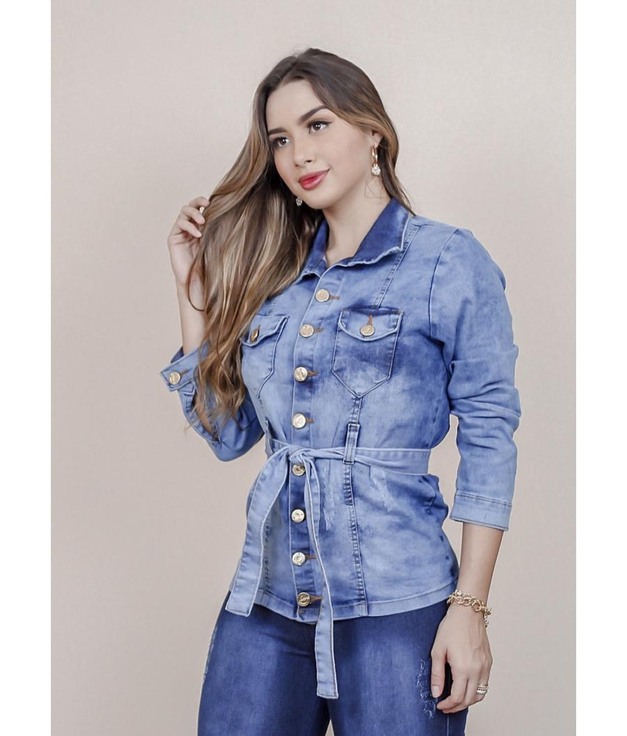 Jaqueta Parka Jeans Com Cinto Feminina  Com Elastano CLEAN