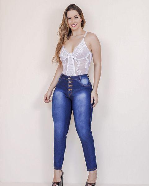 Calça Jeans Feminina Skinny Cintura Alta...