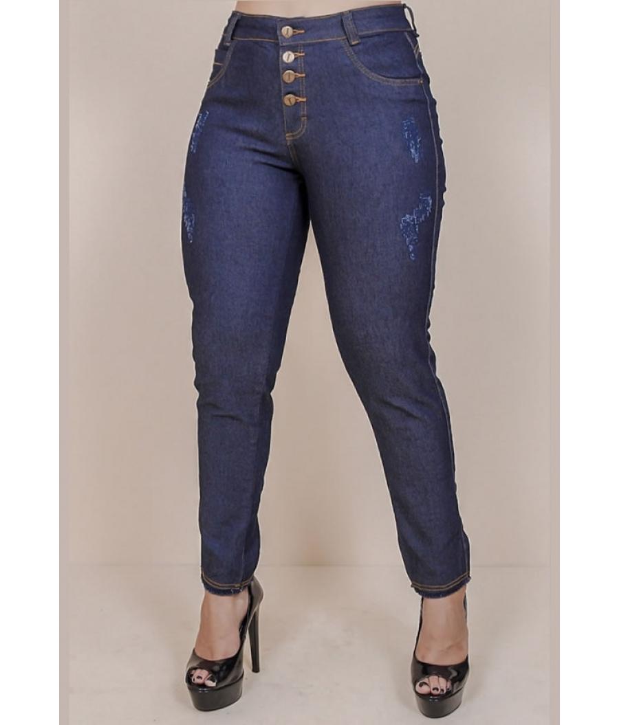 Calça Jeans Feminina Skinny Cintura Alta Com Cinto e Fechamento por Botões Dark